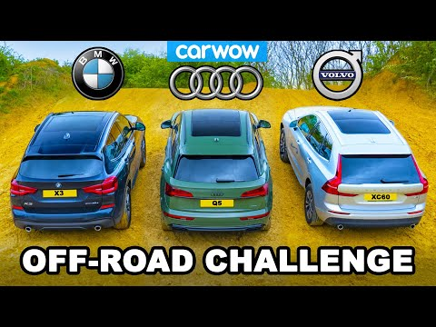 BMW X3 v Audi Q5 v Volvo XC60: UP-HILL DRAG RACE & which is best OFF-ROAD!