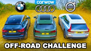 [carwow] BMW X3 v Audi Q5 v Volvo XC60: UP-HILL DRAG RACE & which is best OFF-ROAD!