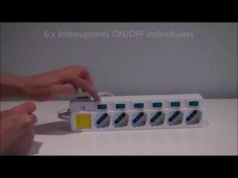 Regleta Ewent EW3932 con protección de sobre tensión con 6 tomas de corriente