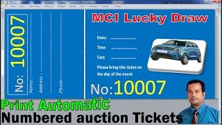 Create, Print numbered auction tickets in word