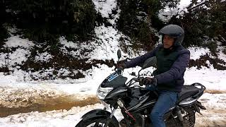 preview picture of video 'Motor bike ride on slippery snow covered road of nepal'