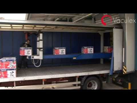 Unloading a container truck with Parcelift
