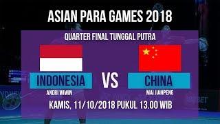 Live Streaming Quarter Final Badminton Tunggal Putra, Indonesia Vs China di Asian Para Games 2018