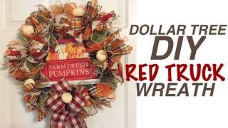 Dollar Tree DIY | Red Truck Fall Wreath Autumn Wreath | Fall Crafts