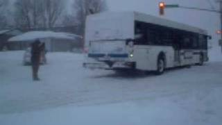 preview picture of video 'Barrie, ON. December 19th major snowstorm, Bus gets stuck'