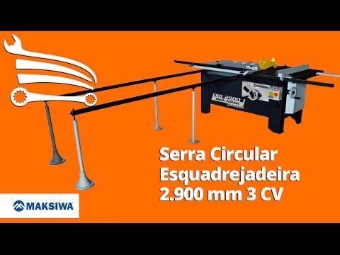 Serra Circular Esquadrejadeira 2.900mm 3 CV Monofásico com Eixo Inclinável - Video