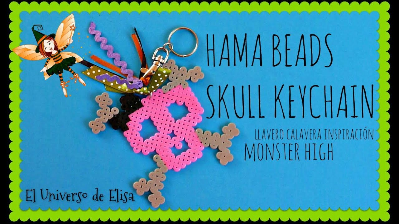 Calavera Llavero. How to make a skull keychain with perler beads midi inspired in Monster High