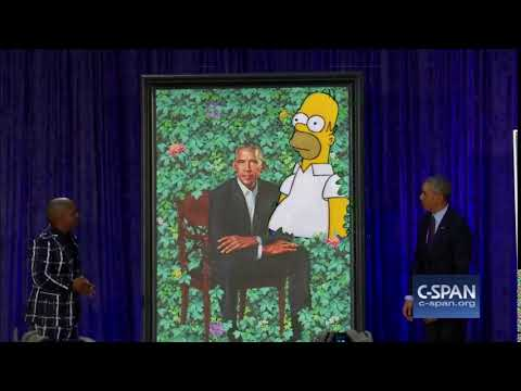 Homer Simpson attends Barack Obama portrait unveiling