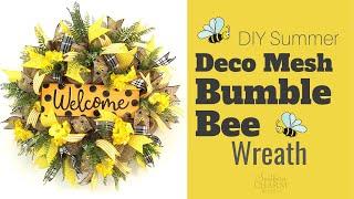 DIY Summer Deco Mesh Bumble Bee Wreath Tutorial