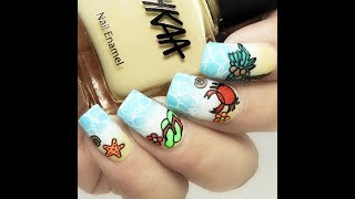 DIY Beach Theme Nails ||Reverse Stamping Technique||