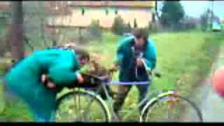 2 Russian drunk dudes, 1 bike, 1 trunk