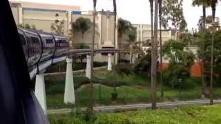 Disneyland POV to Downtown Disney Hotel station outside window perspective HD
