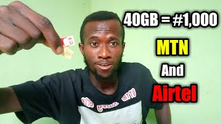 40GB For #1k ONLY, MTN AND AIRTEL SECRET DATA SUBSCRIPTION!!!
