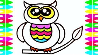 FUN Coloring Pages for Kids-How to Draw a CUTE BABY OWL-Art Colors for Children