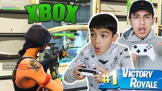 PC Players Play Fortnite On A Xbox For The First Time With Little Brother! (RAGE)