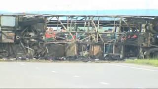 Место смертельной аварии автобуса и грузовика в Татарстане