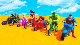 LEARN COLOR BMX and MOTORCYCLES w/ Superhero Cartoon for Kids Animation