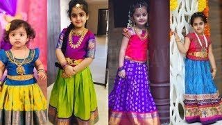 Latest Kids Pattu Pavadai Designs / Kids Traditional Dress Collections