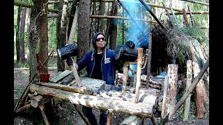 Bushcraft Camp. Woodwork: Drilling Trees, Part 1 Of 3. I Cooked Fish At Camp. No Talking.