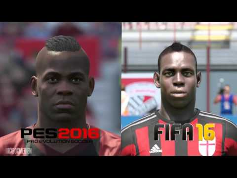 PES 2016 vs FIFA 16 AC Milan Player Faces Comparison
