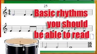 Basic rhythms you should be able to read before learning an instrument