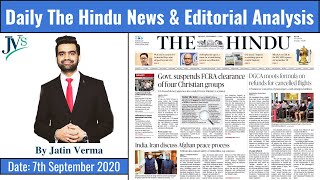 7th September 2020: Daily News Analysis || by Jatin Verma || Current Affairs 2020
