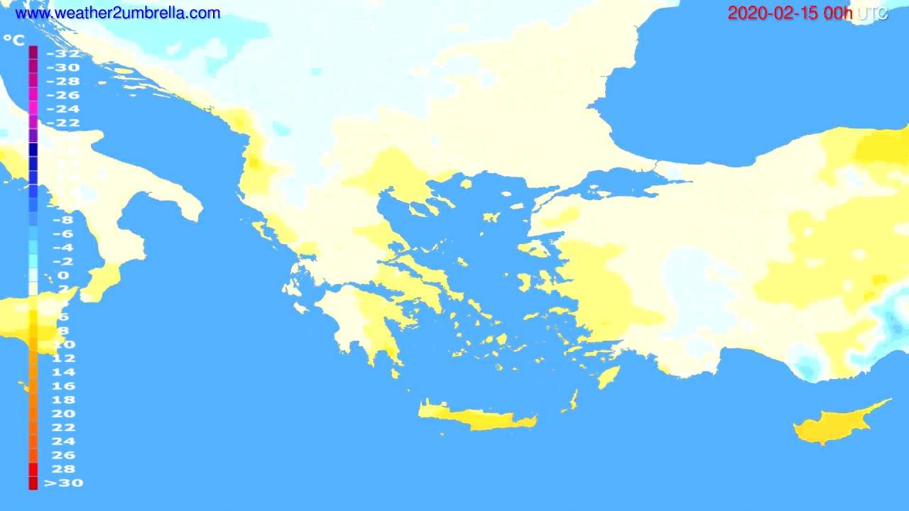 Temperature forecast Greece // modelrun: 00h UTC 2020-02-14
