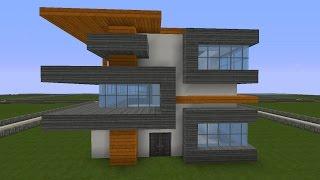 Minecraft Modernes Haus Mit Wintergarten Braunweiß Bauen Tutorial - Minecraft moderne hauser download