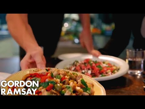 Griddled Chicken With Chickpeas Feta Watermelon Salad Gordon Ramsay
