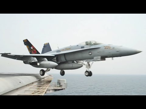 Super Up-Close View Of An F-18 Taking Off From An Aircraft Carrier