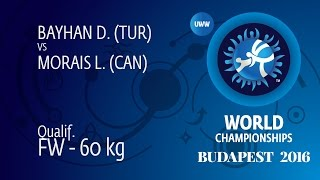 Qual. FW - 60 kg: L. MORAIS (CAN) df. D. BAYHAN (TUR) by FALL, 6-0