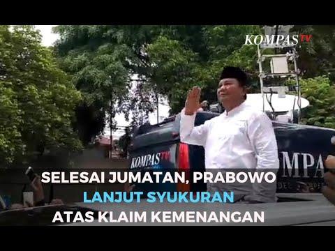 Selesai Jumatan, Prabowo Lanjut Sukuran Atas Klaim Kemenangan