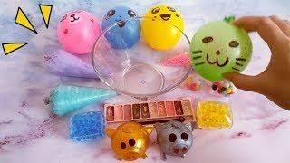捏捏乐玩具也能做泥?混合裱花袋、气球和化妆品,过程太解压了