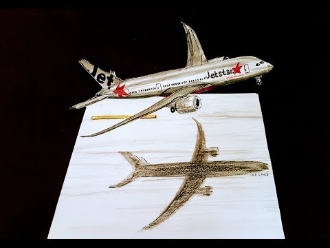 HOW TO DRAW 3D PLANE?,SPEED DRAWING,BOEING 787-800 DREAMLINER
