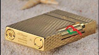Bật lửa Dupont kẻ Caro D69 màu vàng | Deva.vn | Gia 650.000 Đ
