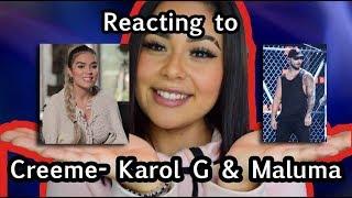 Latina Reacting To CREEME  Karol G & Maluma | Lali |