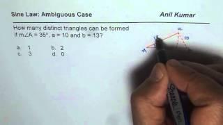 Sine Law Ambiguous Case Multiple Choice