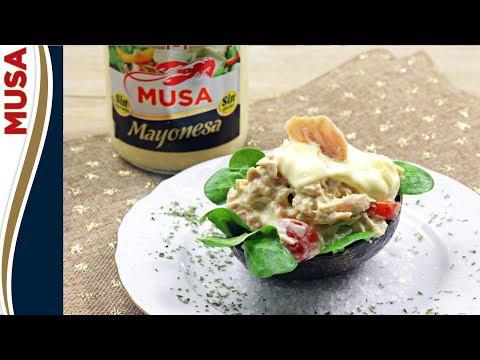 Aguacate relleno con mayonesa Musa