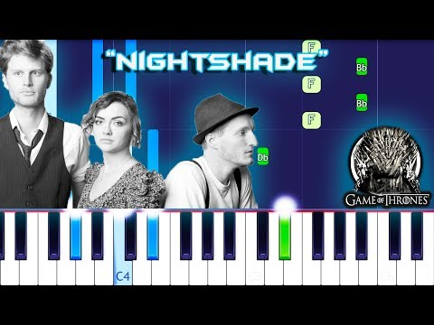 The Lumineers - Nightshade Piano Tutorial EASY (Game Of Thrones) - MUSICHELP