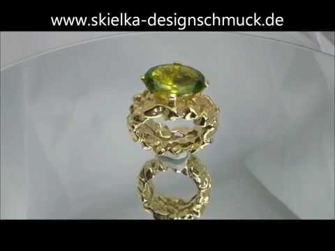Goldring mit Peridot /Olivin (Gelbgold 585) Peridotring