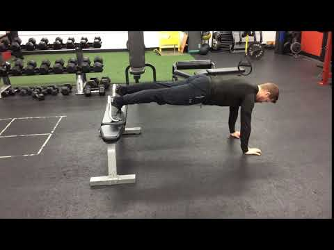 Feet Elevated Bench + Push Up Plank Hold