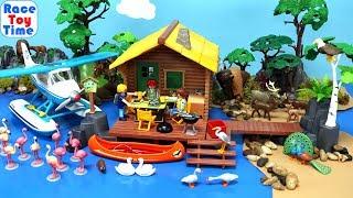 Playmobil cabin on the lake Playset plus animals toys