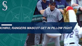 Ichiro Suzuki and mascot battle it out with pillows - Video Youtube