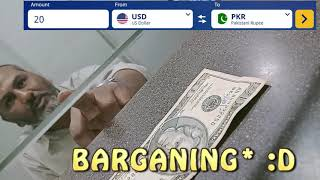 Conversion of Dollars (USD) in Pakistani Rupees at Money Exchange OFFICE