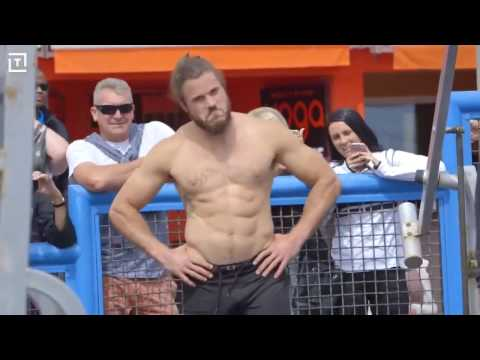 Old man shows up Bodybuilders---- Muscle Beach  Gym, California