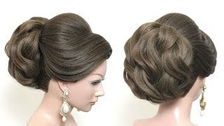 New Beautiful Hairstyle For Long Hair.  Bridal Updo Tutorial