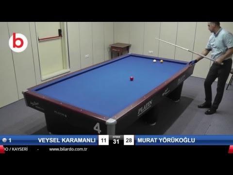 VEYSEL KARAMANLI & MURAT YÖRÜKOĞLU Bilardo Maçı - KAYSERİ MASTERLAR  3 BANT TURNUVASI-2.TUR
