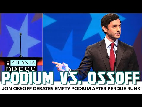 Jon Ossoff Debates Empty Podium After Perdue Runs