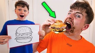 Whatever You Draw, I'll Eat Challenge w/LITTLE BROTHER!!