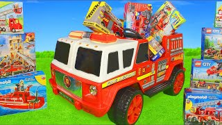 Fire Truck Ride On Surprise: Toy Vehicles, Lego Construction Cars & Toys Play for Kids